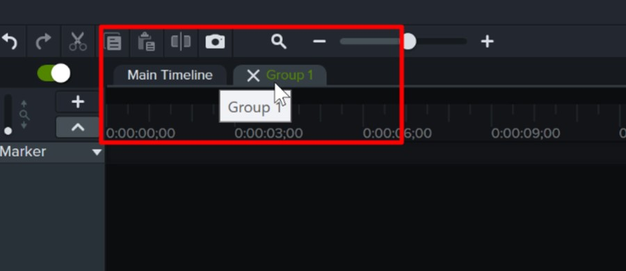 When you enter a group in Camtasia, you edit it in a nice new tabbed interface