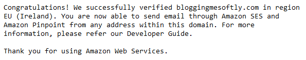 AWS SES e-mail confirmation domain validation